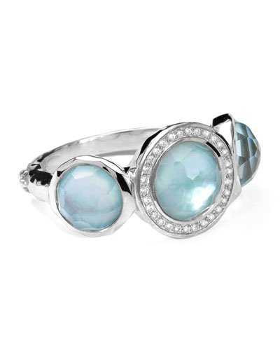 Ippolita Stella Ring in Blue Topaz over Mother-of-Pearl with Diamonds, 0.12