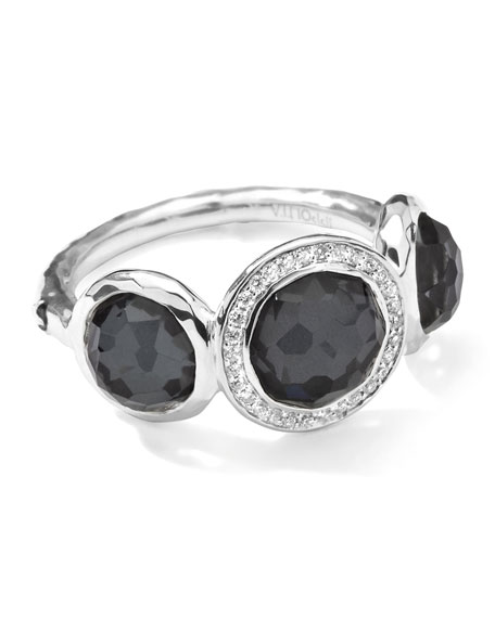 Stella 3-Doublet Ring in Hematite & Diamonds, .12 ct