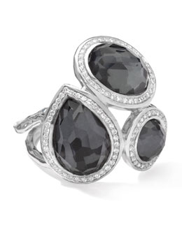 Ippolita Stella Ring in Hematite Doublets with Diamonds, 0.41
