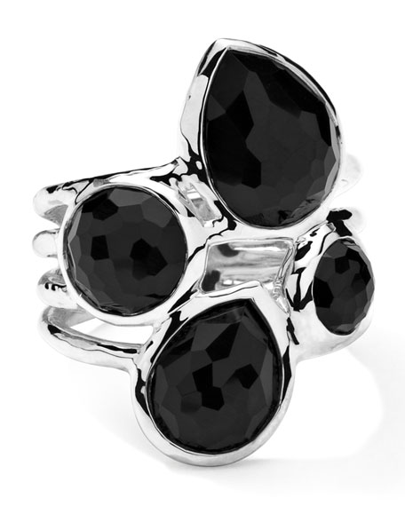 Sterling Silver Rock Candy 4-Stone Ring in Black Onyx