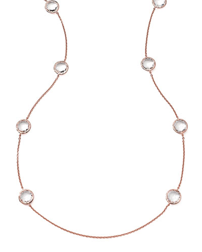 Ippolita Rose Rock Candy 8-Stone Necklace, Clear Quartz