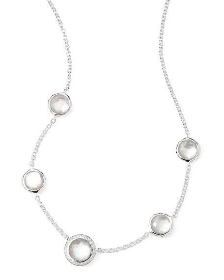 Stella Necklace in Mother-of-Pearl Doublet & Diamonds 16-18""