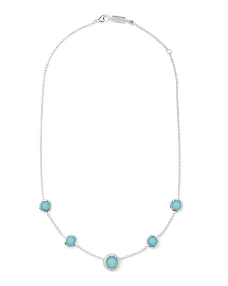 """Stella Necklace in Turquoise Doublet & Diamonds 16-18"""""""