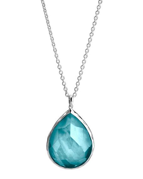 Wonderland Silver Large Teardrop Pendant Necklace, Denim