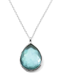 Ippolita Wonderland Silver Large Teardrop Pendant Necklace, Denim