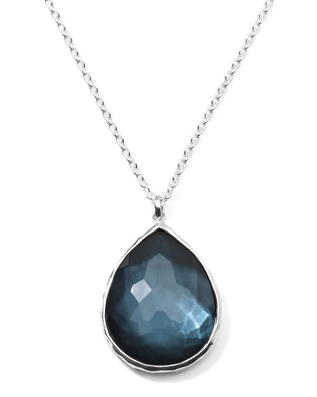 Wonderland Silver Large Teardrop Pendant Necklace, Indigo
