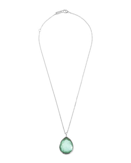 Wonderland Silver Large Teardrop Pendant Necklace in Mint