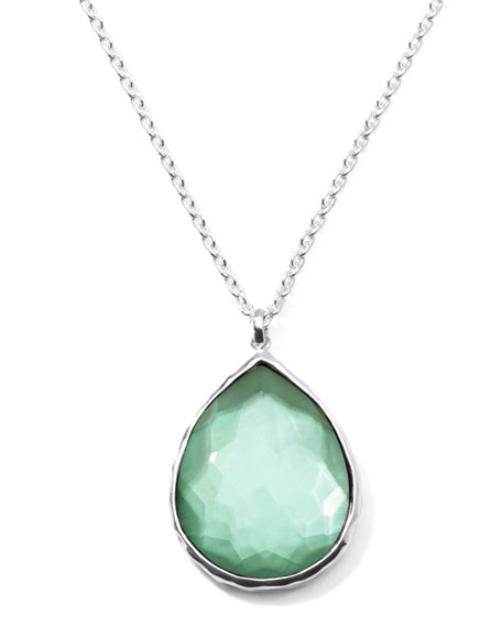 Wonderland Silver Large Teardrop Pendant Necklace, Mint