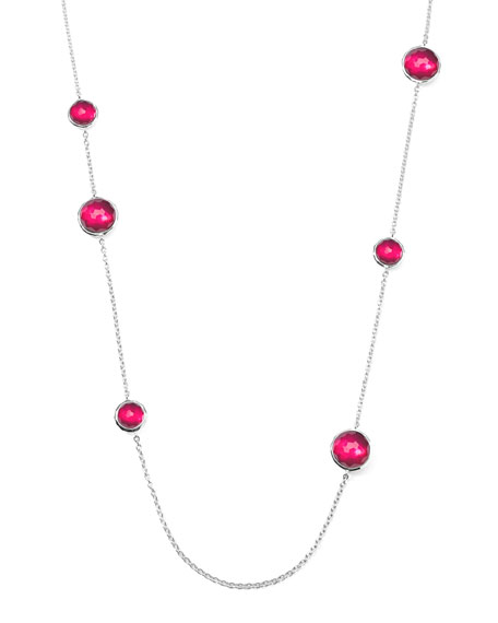 Sterling Silver Wonderland Lollipop Station Necklace in Raspberry 40""