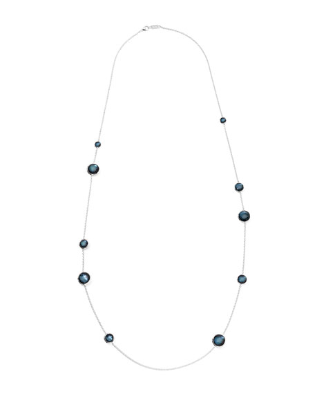 Sterling Silver Wonderland Lollipop Station Necklace in Indigo 40""