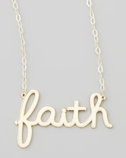Sydney Evan Gold Faith Pendant Necklace