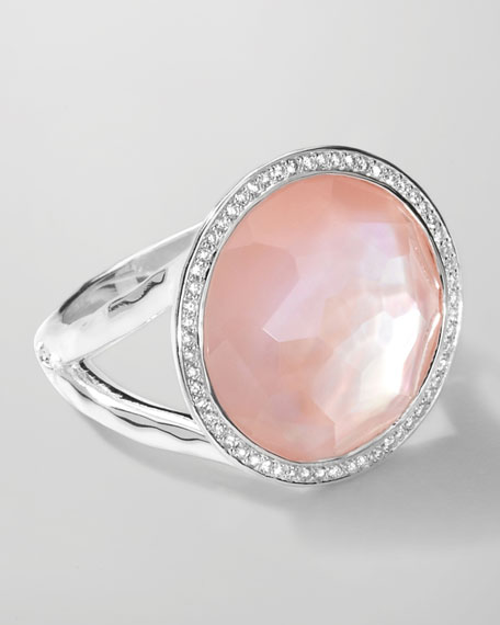 Stella Lollipop Ring in Pink Mother-of-Pearl Doublet with Diamonds, 0.23
