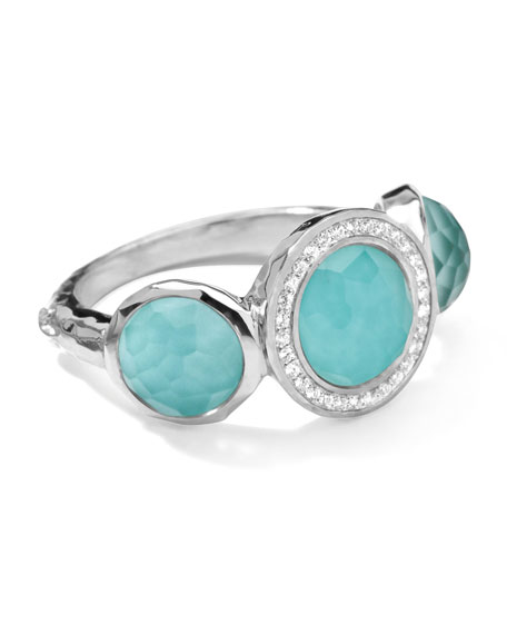 Stella Ring in Turquoise & Diamonds, 0.12