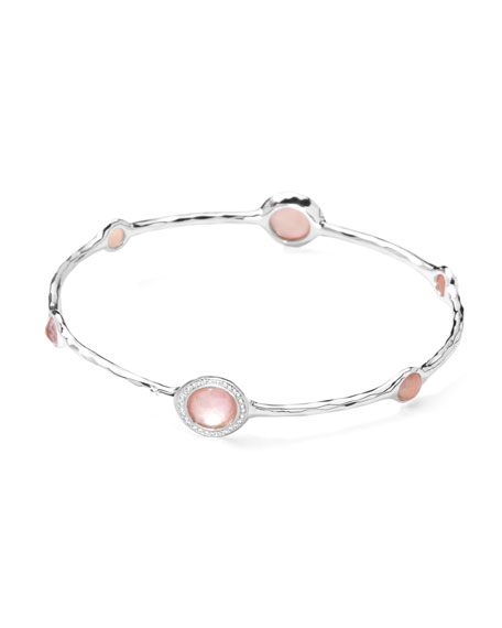 Stella Sterling Silver Bangle in Pink Mother-of-Pearl & Diamonds