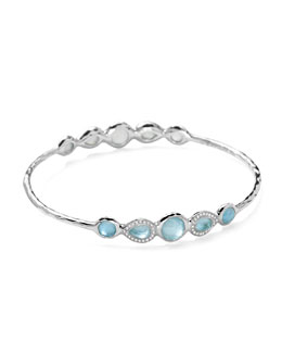 Ippolita Stella Sterling Silver 10-Doublet Bangle in Swiss Blue Topaz & Diamonds