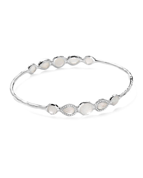 Stella Sterling Silver 10-Doublet Bangle in Mother-of-Pearl & Diamonds