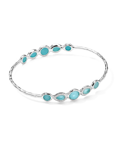 Ippolita Stella Sterling Silver 10-Doublet Bangle in Turquoise & Diamonds