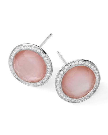 Stella Stud Earrings in Pink Mother-of-Pearl with Diamonds