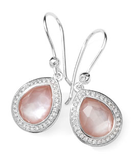 Ippolita Stella Teardrop Earrings in Pink Mother-of-Pearl & Diamonds, 28mm
