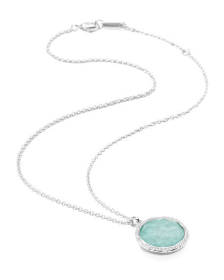 Stella Large Lollipop Necklace in Turquoise & Diamonds 16-18""