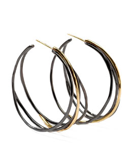 Ippolita Notte Black Silver & 18k Gold #3 Squiggle Hoop Earrings