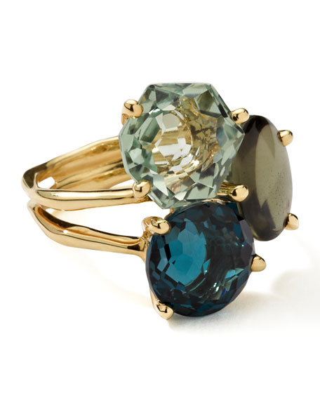 18k Gold Rock Candy Gelato 3-Stone Cluster Ring, Tartan