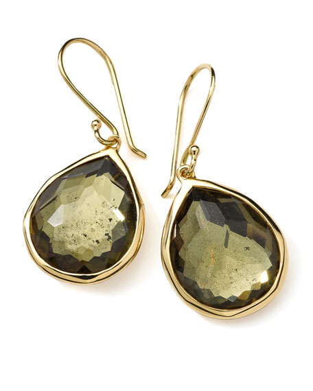 18K Gold Rock Candy Teardrop Earrings in Citrine/Pyrite