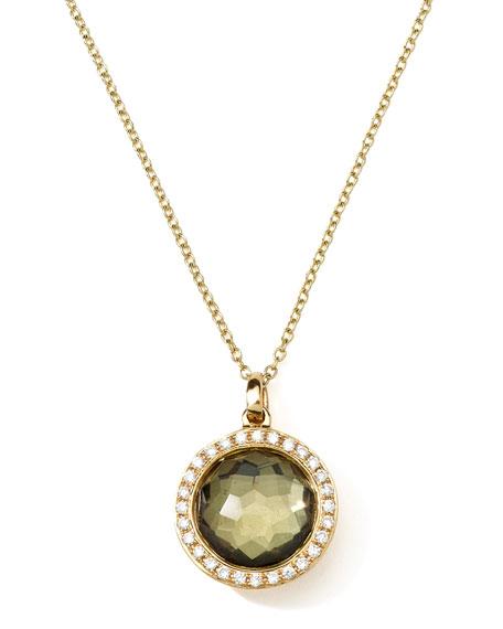 18K Gold Rock Candy Mini Lollipop Necklace in Pyrite & Diamonds
