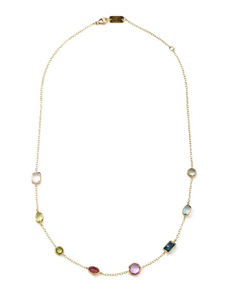 18k Gold Rock Candy Mini Gelato Station Necklace in Multi, 16-18""