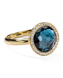 Ippolita 18k Gold Rock Candy Mini Lollipop Ring in London Blue Topaz & Diamond