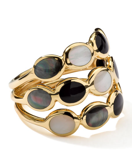 Polished Rock Candy Three-Row Ring in Jazz