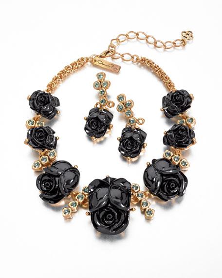 Resin Rose Necklace, Black
