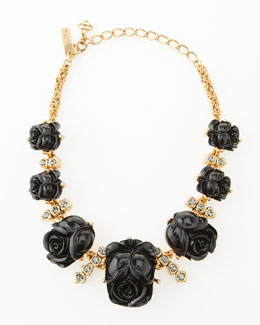 Oscar de la Renta Resin Rose Necklace, Black