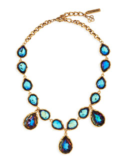 Oscar de la Renta Large Crystal Teardrop Necklace, Indigo