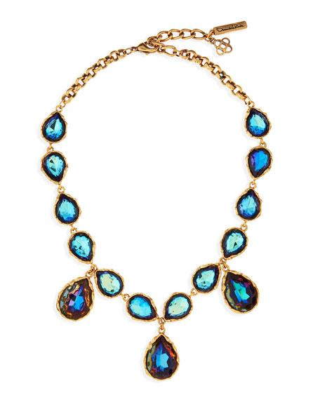 Large Crystal Teardrop Necklace, Indigo