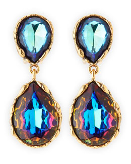 Oscar de la Renta Large Crystal Teardrop Clip-On Earrings, Indigo