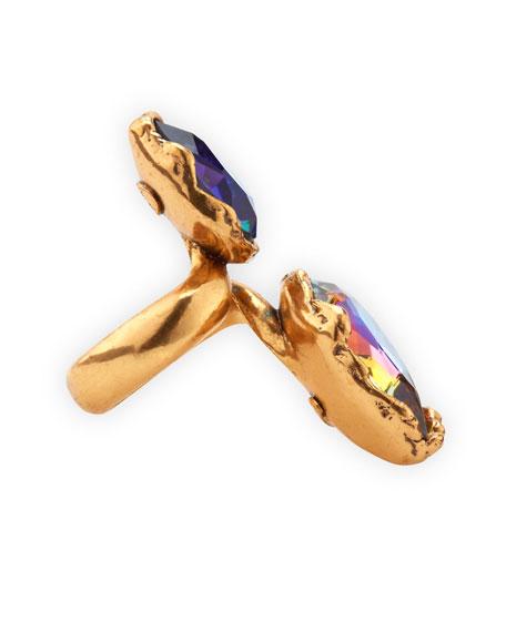 Large Crystal Teardrop Ring, Indigo