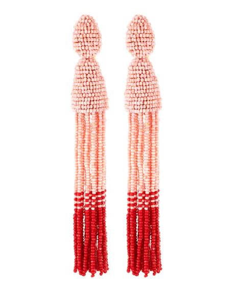Long Beaded Tassel Clip-On Earrings, Blush/Red