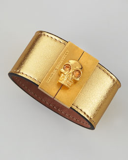 Alexander McQueen Skull-Clasp Leather Cuff, Gold