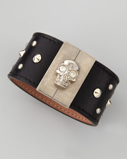 Alexander McQueen Skull-Clasp Studded Leather Cuff, Black