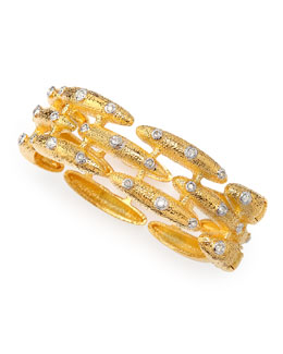 Alexis Bittar Crystal-Studded Scalloped Bangle