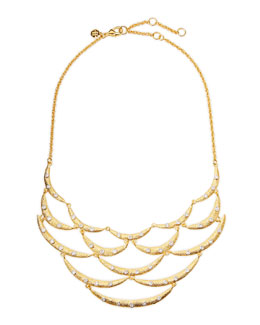 Alexis Bittar Crystal-Studded Scalloped Bib Necklace