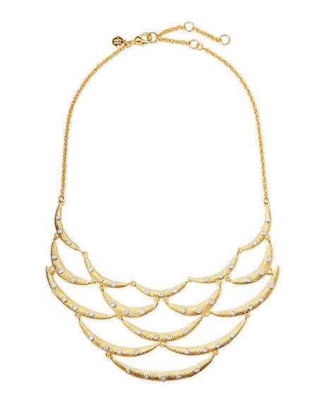 Crystal-Studded Scalloped Bib Necklace