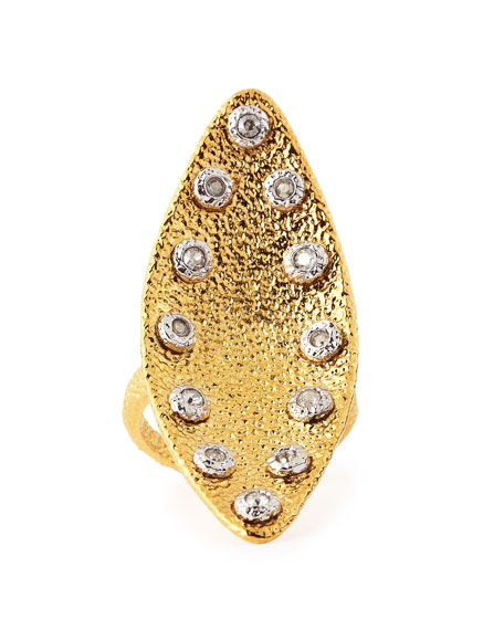 Crystal-Studded Marquise Ring
