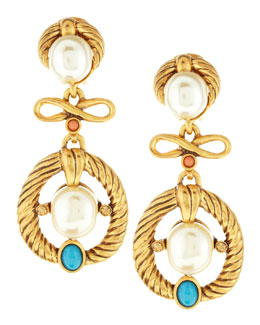 Oscar de la Renta Cabochon & Pearlescent Clip-On Earrings