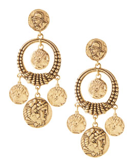 Oscar de la Renta Coin Drop Earrings