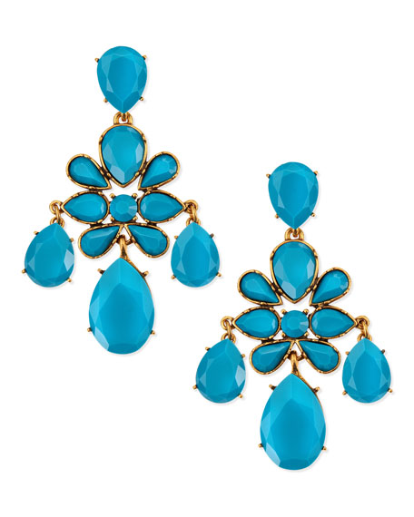 Faceted Chandelier Clip-On Earrings, Turquoise