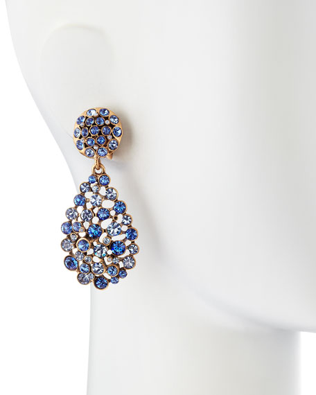 Faceted Chandelier Clip-On Earrings, Indigo