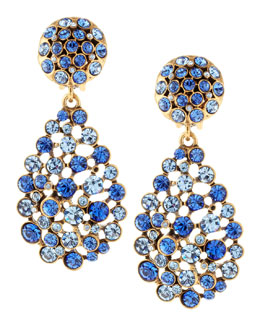 Oscar de la Renta Faceted Chandelier Clip-On Earrings, Indigo