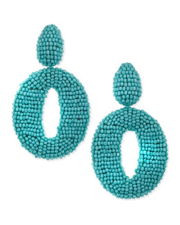 Oscar de la Renta O Clip-On Earrings, Turquoise